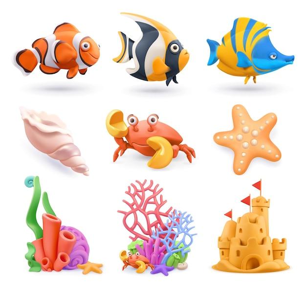 Conjunto 3d de desenhos animados do mundo subaquático
