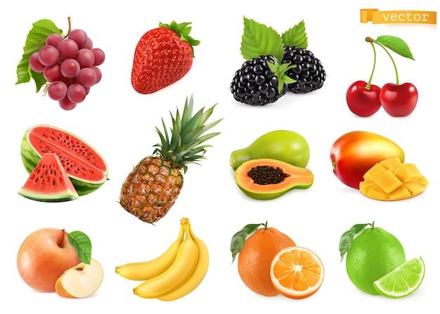 Conjunto 3d de frutas doces