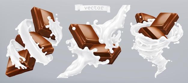 Conjunto 3d de leite e chocolate