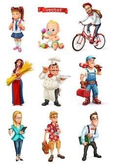 Conjunto 3d de pessoas. cozinheiro, gerente, estudante, turista, reparador, ciclista, crianças