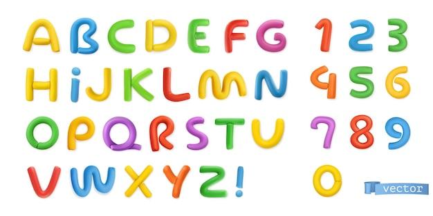 Conjunto 3d de plasticina engraçada, letras do alfabeto e números
