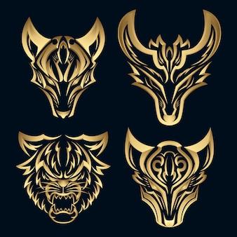 Conjunto 3d elegante raposa ouro logotipo design. logotipo de marca pictórica de luxo premium.