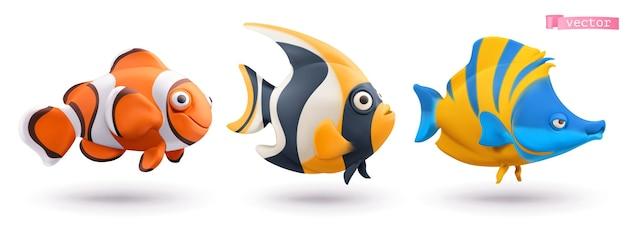 Conjunto 3d engraçado de peixes tropicais