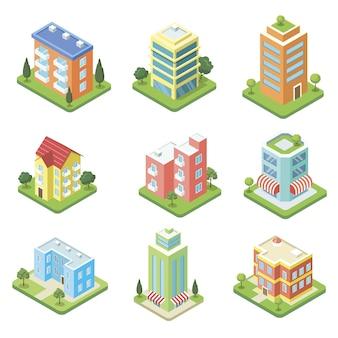 Conjunto 3d isométrico de edifícios da cidade