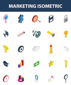 Conjunto 3d isométrico de ícone de marketing em branco