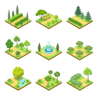 Conjunto 3d isométrico de paisagens de parque público