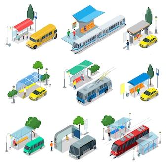 Conjunto 3d isométrico de transporte público da cidade