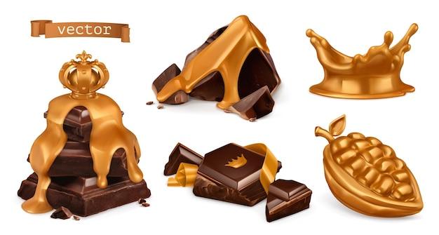 Conjunto 3d ouro e chocolate