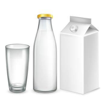 Conjunto 3d realista de leite