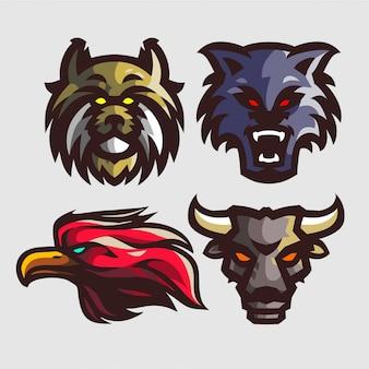 Conjunto 4 logotipo mascote para logotipo e-sport