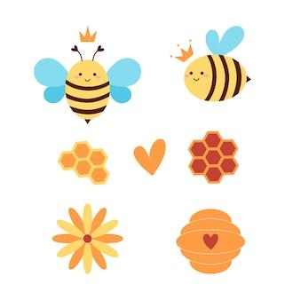 Conjunto abelha rainha e apicultor
