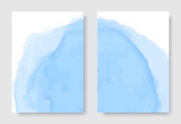 Conjunto abstrato azul aquarela fundo