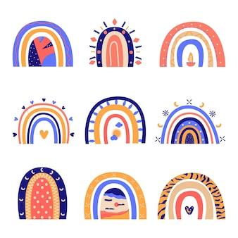 Conjunto abstrato bonito do arco-íris. ilustração em vetor plana