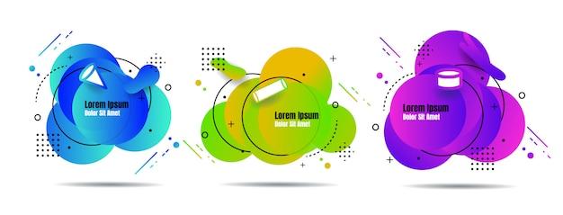 Conjunto abstrato colorido líquido geométrico para banner