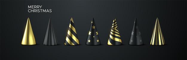 Conjunto abstrato de árvore de natal de feriado com formas geométricas de cone preto e dourado