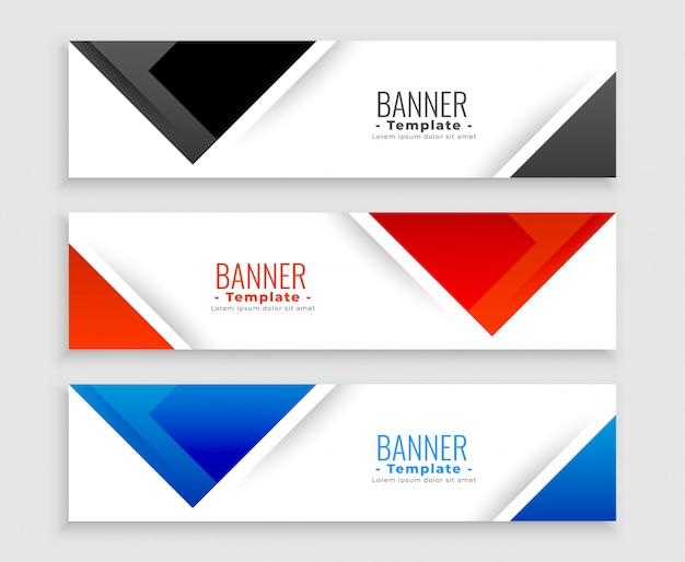 Conjunto abstrato de banners modernos em formas de triângulo