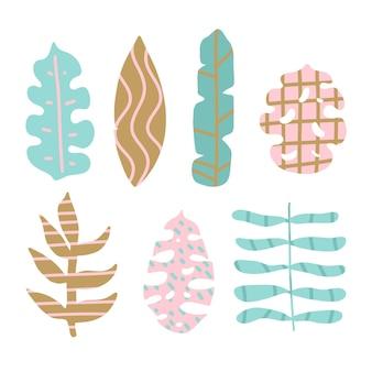 Conjunto abstrato de folhas tropicais