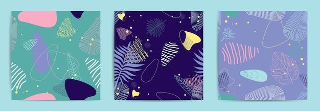 Conjunto abstrato de fundo quadrado com flores tropicais, folhas de palmeira.