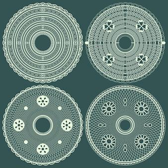 Conjunto abstrato de guardanapos redondos de renda. ilustração vetorial.
