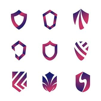 Conjunto abstrato de modelo de logotipo de escudo