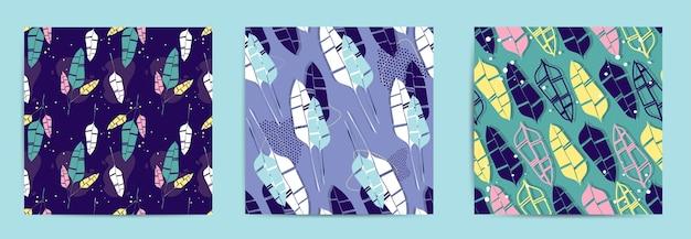 Conjunto abstrato de padrões com folhas de palmeira tropical.