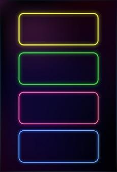 Conjunto abstrato de quadro de néon
