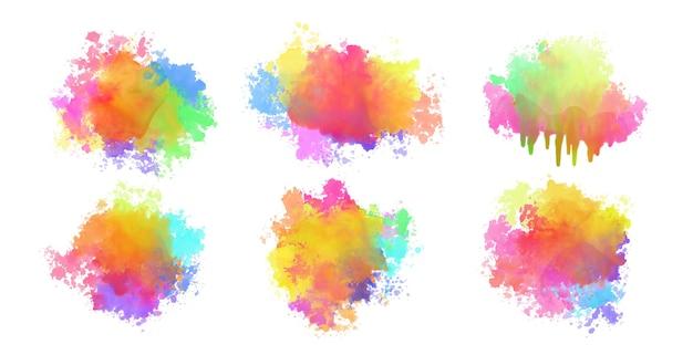 Conjunto abstrato de respingos de aquarela coloridas
