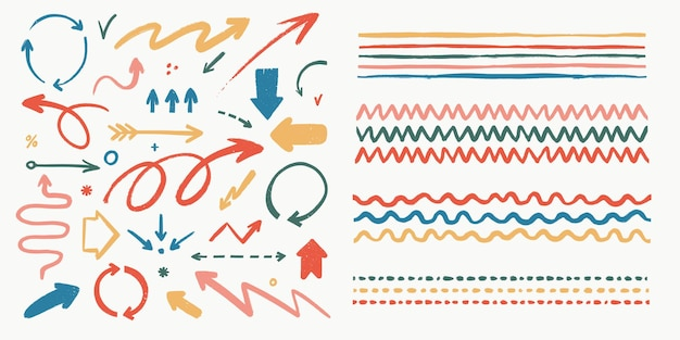 Conjunto abstrato de setas e pincéis