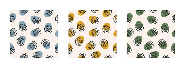 Conjunto abstrato de três padrões sem emenda com formas coloridas e redemoinho preto sobre fundo pastel