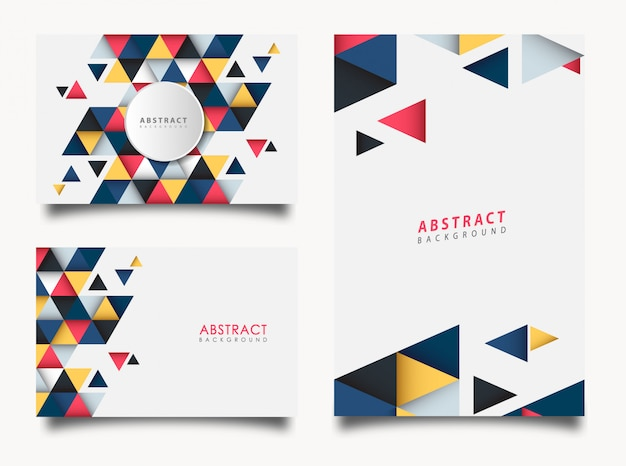 Conjunto abstrato de triângulo colorido