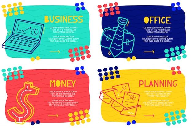 Conjunto abstrato doodle negócios