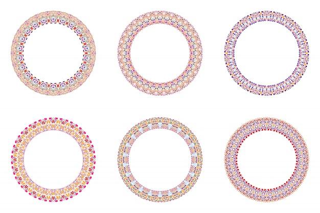 Conjunto abstrato geométrico círculo floral