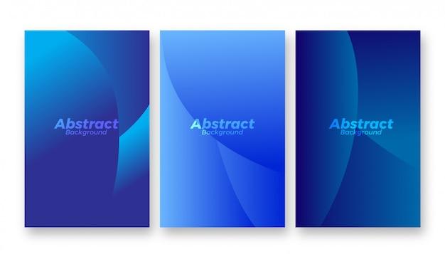Conjunto abstrato moderno criativo fundo azul