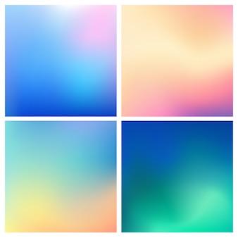 Conjunto abstrato multicolorido fundo desfocado. conjunto de fundos turva quadrados - céu nuvens mar oceano praia cores