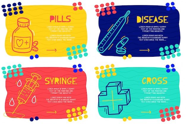Conjunto abstrato pílulas de doodle
