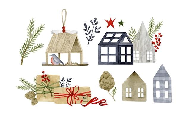 Conjunto aconchegante de elementos aquarela de natal