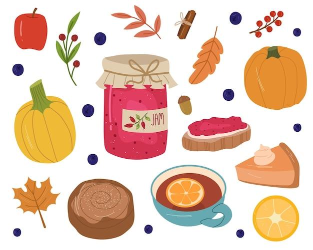 Conjunto aconchegante de outono com geléia, chá, pão, abóboras, maçã, folhas e grãos. ilustração em vetor mão desenhada dos desenhos animados.