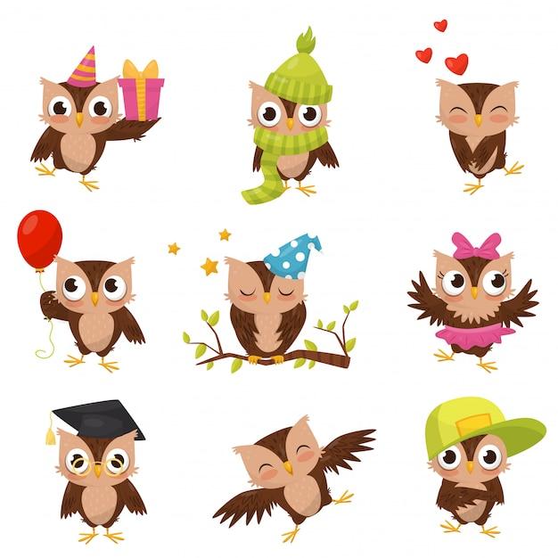 Conjunto adorável pequeno corujinhas marrons, personagem de desenho animado pássaro bonito em diferentes situações ilustração sobre um fundo branco