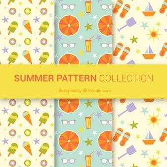 Conjunto, agradável, verão, padrões, apartamento, desenho
