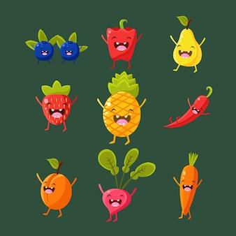 Conjunto alegre de ilustração de frutas e legumes