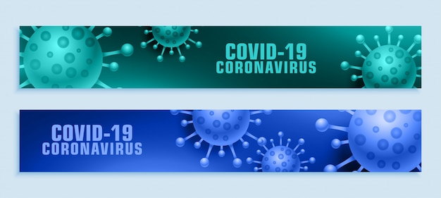 Conjunto amplo de banner para surto de pandemia de covid-19 do coronavírus