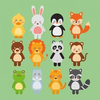 Conjunto animais fofos animais selvagens