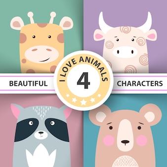 Conjunto animal girafa, vaca, urso de guaxinim