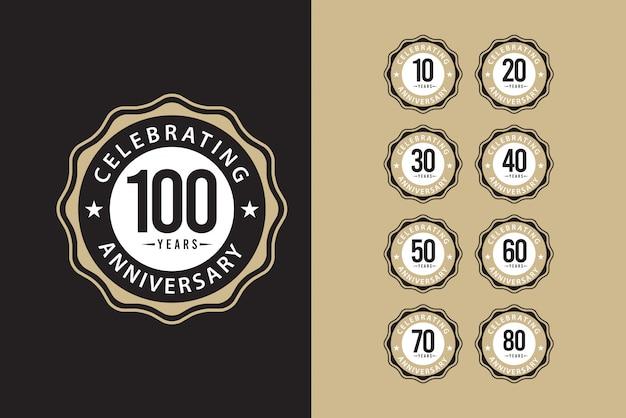 Conjunto aniversário 100 anos comemorações modelo elegante design ilustração