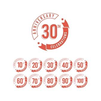 Conjunto aniversário 30 anos comemorações modelo elegante design ilustração