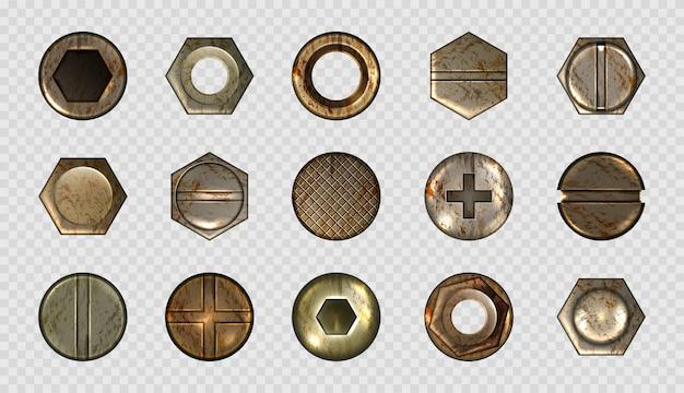 Conjunto antigo de parafusos e cabeças de pregos, parafusos de metal, rebites