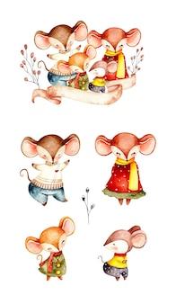 Conjunto aquarela da família de ratos