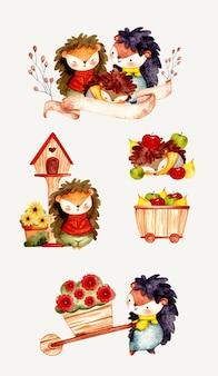 Conjunto aquarela da família ouriço