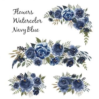 Conjunto aquarela de buquê de flores azul marinho