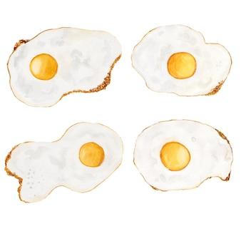 Conjunto aquarela de ovos fritos fritos isolada